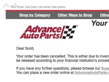 Advance Auto Parts - Order Cancellation
