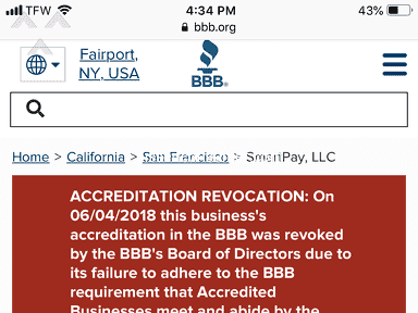 SmartPay Leasing - BBB accreditation revocation/Pattern of Complaints