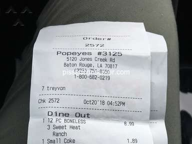 Popeyes Louisiana Kitchen - Customer complaint