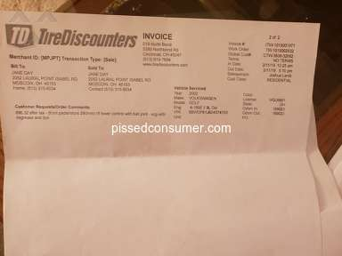 Tire Discounters Customer Care review 379764