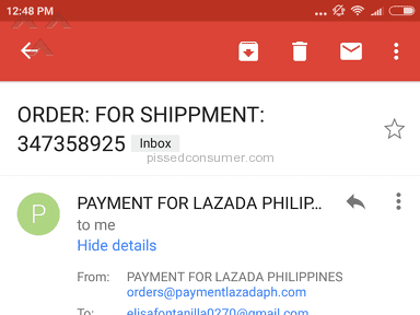 Lazada Philippines - Leakage on order detail