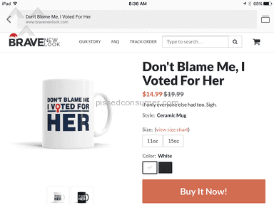 Brave New Look Dont Blame Me I Voted For Her Mug review 181242