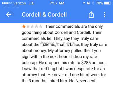 Cordell And Cordell - Don't get scammed by these guys!