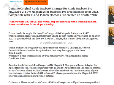 24hourchargers Apple Laptop Charger review 147422
