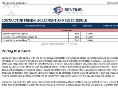 Thsentinel Field Services - The Pay they are offering for Inspections