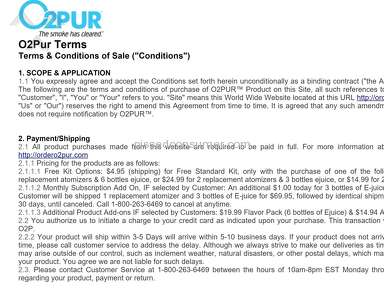 O2Pur - ACTUAL VERBIAGE FOR AUTO-MONTHLY SUBSCRIPTION