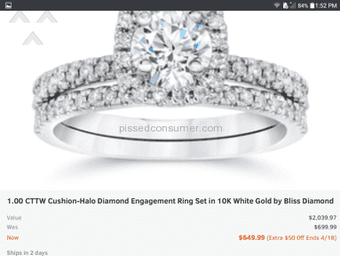 Groupon Bliss Diamond Engagement White Gold Ring review 127017