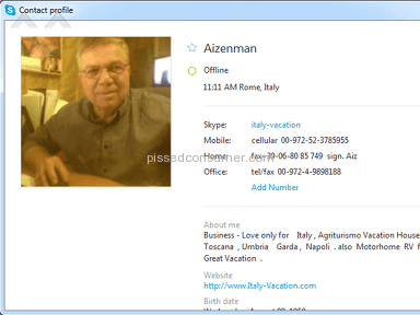 Italy Vacation Com - Aizenman Moshe Italy Vacation - Fraud ! Scam !