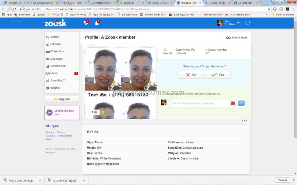 Zoosk fake accounts