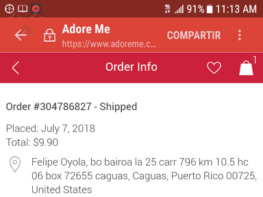 Adore Me - My box has not arrived