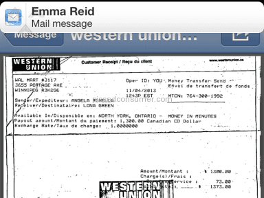 Western Union - Frauded  by a mystery shopper's canada phone#1-888-471-0793