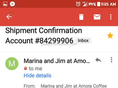 Amora Coffee Customer Care review 238562