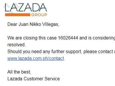Lazada Philippines Customer Care review 342300