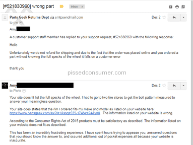 Partsgeek - False and inaccurate product description and horrific customer service