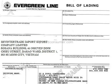 Eisenhardt - Skyintertrade co. ltd / skyintertrades.com forged faked Evergreen Bill of Lading