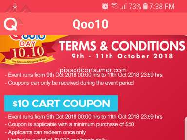 Qoo10 - Misleading coupons for 10.10 event