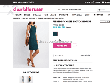 Charlotte Russe - DRESS NOT AS ADVERTISED