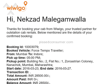 Wiwigo Car Rental Booking review 124013