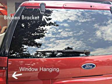 2004 ford explorer glass hatch hinge snapping