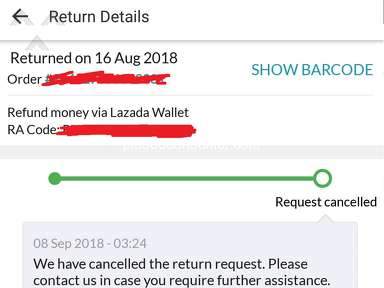 Lazada Philippines - Cancelled Refund of Couple Watch
