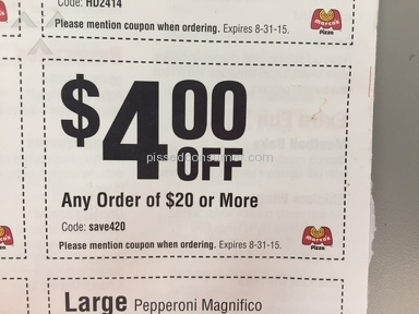 Marcos Pizza - MISPRINTED COUPONS