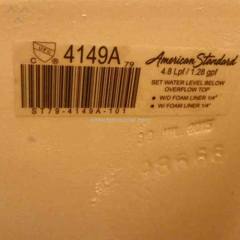 American Standard - Tank replacement issues/ No warranty service ...