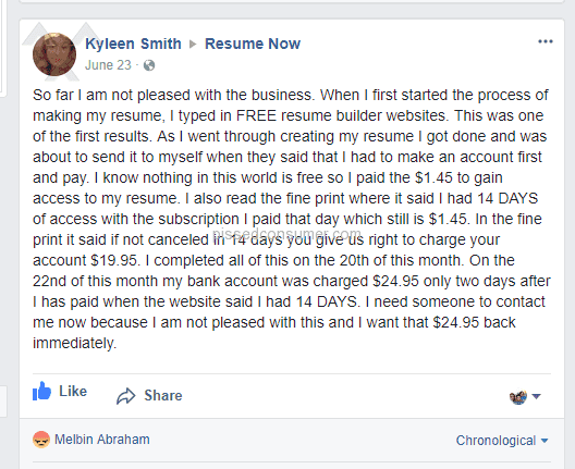 Resume Now - Hidden charges are there..check their fb reviews too ...