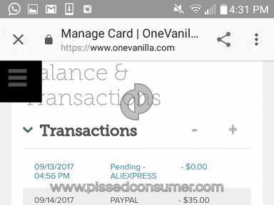OneVanilla - Acount balance