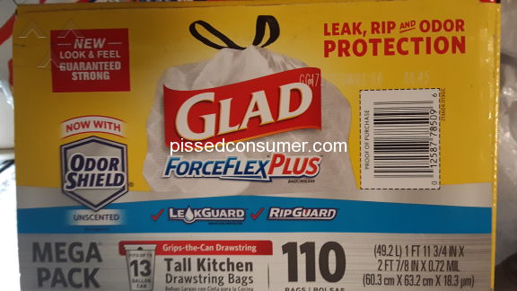 Glad Forceflex Plus Tall Kitchen Drawstring Trash Bag