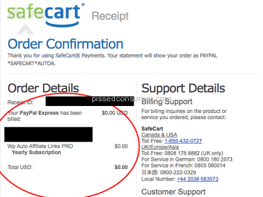 Unauthorized Subscription Charge From Safecart via Paypal