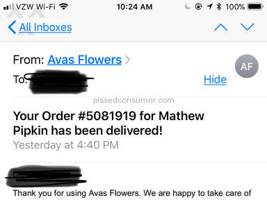 Avasflowers - FAILED TO DELIVER FLOWERS TO FUNERAL