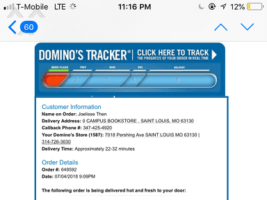 Dominos Pizza - I made an order did not recieve it and I want a refund