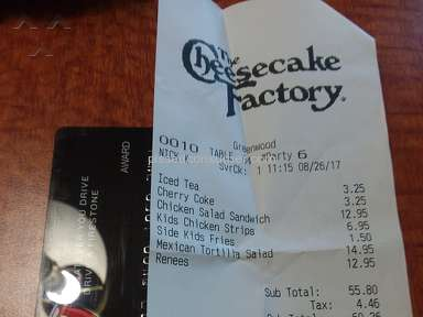 The Cheesecake Factory - Could not use Rebate Visa Card