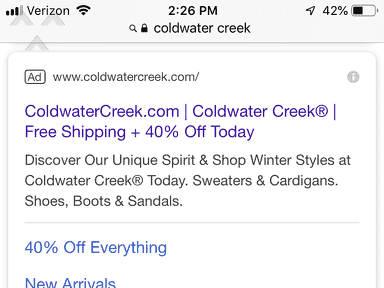 Coldwater Creek - Misleading advertising
