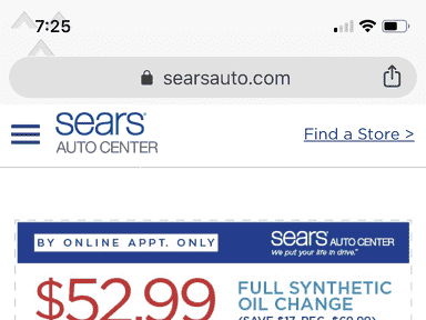 Sears Auto Center - Did not honor coupon that came directly from sears website