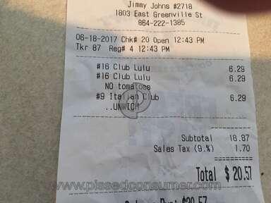 Jimmy Johns Italian Night Club Sandwich review 214142