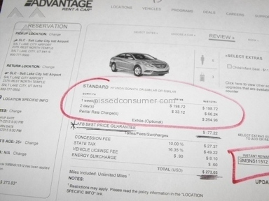 Advantage Rent A Car - BAIT and SWITCH
