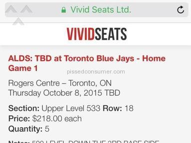 Vivid Seats - Lack of Transparency with actual Sales Price: USD NOT SHOWN