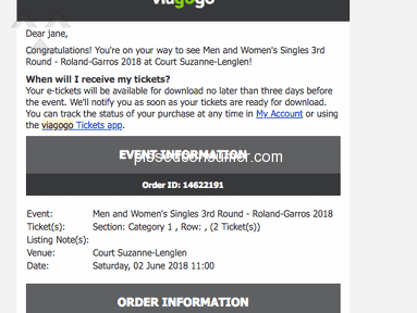 Viagogo The French Open Tennis Ticket review 293009