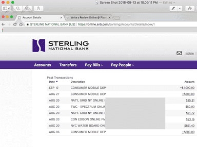 Sterling National Bank - The bank fail to credit my in bank check deposit