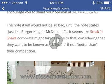 Steak N Shake Customer Care review 137443