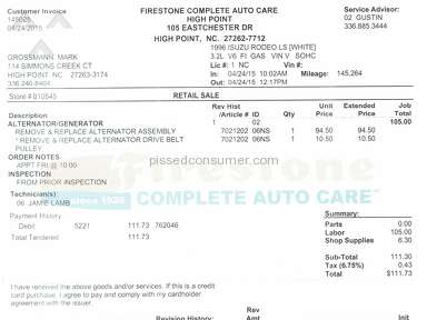 Firestone Complete Auto Care Belt Replacement review 159054