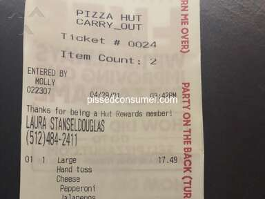 Pizza Hut Three Topping Pizza review 984497