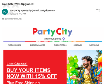 Party City - Deceptive Emaills