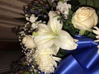 1800Flowers Blue And White Mixed Half Casket Cover Arrangement review 295418