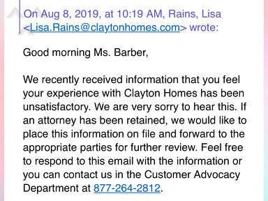 Clayton Homes Customer Care review 495025