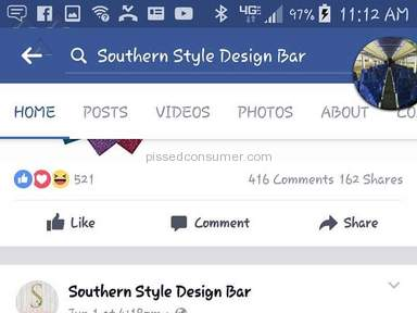 Southern Style Design Bar Customer Care review 211738