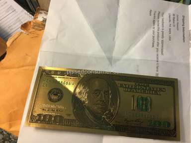 Tophatter - 24k Gold Foil Old Style 100 Dollar bill 2 Sided