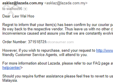 Lazada Malaysia - Request for changing delivery address