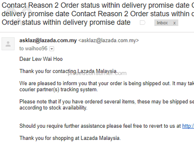 Lazada Malaysia Courier Delivery Service review 234282